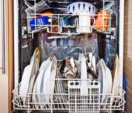 Modern home dishwashing machine appliance. Showing open Royalty Free Stock Photography