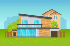 Modern home exterior private house cottage vector. Modern home exterior private house cottage. Concept of architecture. Cottage with plot of land, fruit trees vector illustration