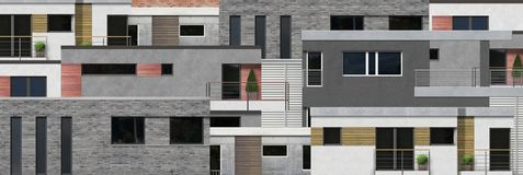 Modern home facades in frontal view Royalty Free Stock Photos