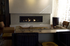 Modern home fireplace Stock Photography
