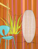 Modern home indoor garden. Modern, colorful stylized motif of chair, lamp and aloe vera in a modern home atrium vector illustration
