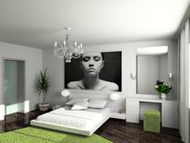 Modern home interior. Modern interior. 3D render. Bedroom. Exclusive design Stock Images