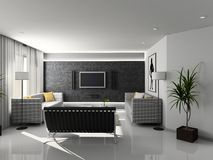 Modern home interior. Modern interior. 3D render. Living-room. Exclusive design stock illustration