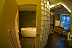 Modern home interior. Modern interior design of a new home, fisheye lens view Royalty Free Stock Images