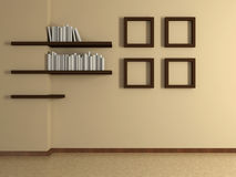 Modern home interior with four paintings and book shelves. 3D. Stock Image