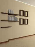 Modern home interior with four paintings and book shelves. 3D. Stock Photography