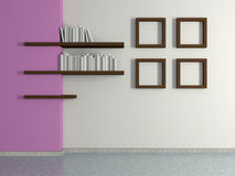 Modern home interior with four paintings and book shelves. 3D. Royalty Free Stock Photo
