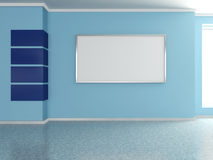 Modern home interior with painting. 3D. Modern home interior with blue wall and painting. 3D Stock Photos