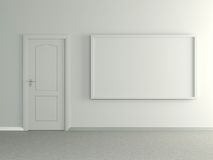 Modern home interior with picture and door. 3D. Stock Photo
