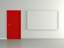Modern home interior with picture and red door. 3D. Stock Image
