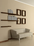 Modern home interior with sofa, book shelves. 3D. Royalty Free Stock Photography
