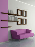 Modern home interior with sofa, book shelves. 3D. Stock Photography