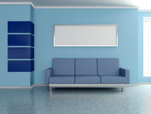 Modern home interior with sofa, painting. 3D. Modern home interior with sofa near the blue wall and painting. 3D Stock Photos