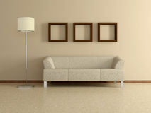 Modern home interior with sofa, paintings. 3D. Royalty Free Stock Image