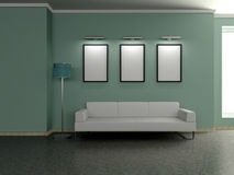 Modern home interior with sofa, paintings. 3D. Royalty Free Stock Photography