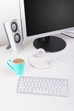 Modern home minimalist workspace desktop Royalty Free Stock Image