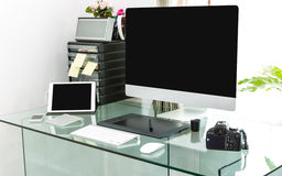 Modern home office with computer Royalty Free Stock Image