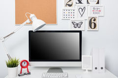 Modern home office computer monitor Royalty Free Stock Images