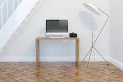 Modern Home Office Interior Design With Bookshelves Front View Royalty Free Stock Photography