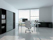 Modern home office interior with desk Stock Photo