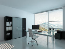 Modern home office interior with desk Stock Photos