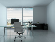 Modern home office interior with desk Royalty Free Stock Images