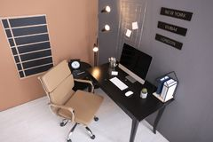 Modern home office interior, view through camera royalty free stock photos