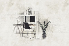 Modern home office in a textured paint effect Royalty Free Stock Photos