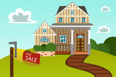 Modern home with for sale sign Stock Photo