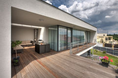 Modern home terrace stock photos