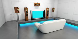 Modern home theater. Render of room full of speaker and big monitor Stock Photos