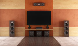 Modern home theater room Royalty Free Stock Image