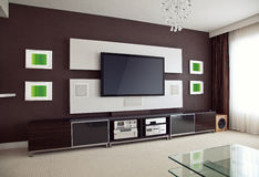 Modern Home Theater Room Interior with Flat Screen TV. Angled perspective view Royalty Free Stock Photos