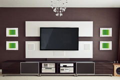 Modern Home Theater Room Interior with Flat Screen TV. Frontal view Stock Photos