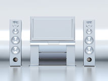 Modern home theatre. With the plasma TV and floor acoustics Royalty Free Stock Photos