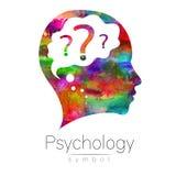 Modern hoofd met vraag binnen hersenen teken van Psychologie Profielmens Creatieve stijl Symbool binnen Het Concept van het ontwe Stock Foto