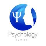 Modern hoofdembleemteken van Psychologie Profielmens Brief Psi Creatieve stijl Stock Foto's
