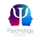 Modern hoofdteken van Psychologie Profielmens Brief Psi Creatieve stijl Symbool in vector Violette blauwe geïsoleerde kleur Royalty-vrije Stock Fotografie