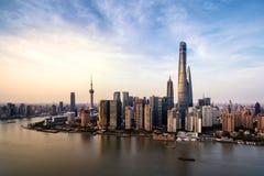 Modern horisont av shanghai Arkivbilder