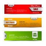Modern horizontal banners with pointers sale Royalty Free Stock Photography