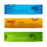Modern horizontal banners with ribbons and pointers Stock Images