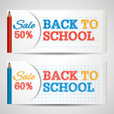 Modern horizontal banners template with Back To School hand drawn text.  Royalty Free Stock Photography