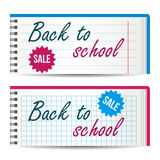 Modern horizontal banners template with Back To School text. Notebook paper. Sale, discount theme. Education concept Stock Photo