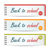 Modern horizontal banners template with Back To School text. Notebook paper. Sale, discount theme. Education concept Stock Images