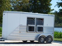 Modern Horse Trailer. This trailer is small but nearly everything has been though out well before hand. The horse seemed to be in great spirits while being Stock Images