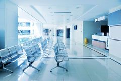 Modern hospital corridor. Waiting area Royalty Free Stock Photo