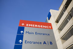 Modern hospital and emergency sign royalty free stock photography