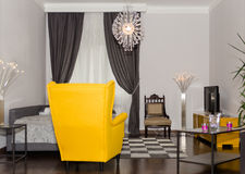 Modern Hotel Apartment with 3d Living Room and Bedroom Interior, Royalty Free Stock Photography