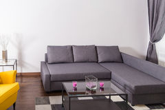 Modern Hotel Apartment with 3d Living Room and Bedroom Interior, Stock Photography