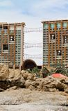 Modern hotel beside the beach, rocky beach Stock Images